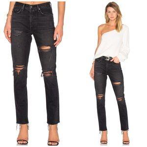 NWT GRLFRND Karolina Black Distressed Skinny Jeans